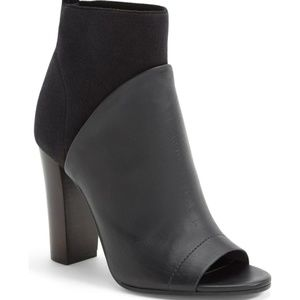 Vince Aren Black Wool Leather Peep Toe Boots